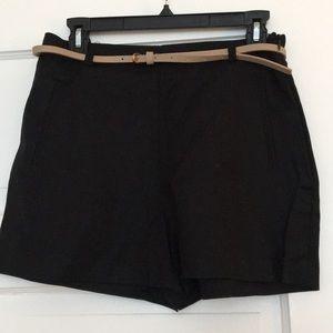 New Black Belted High Waisted Zara Short, Medium